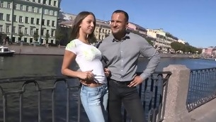 Thick erected dong makes our seductive sweetheart jump on top of it